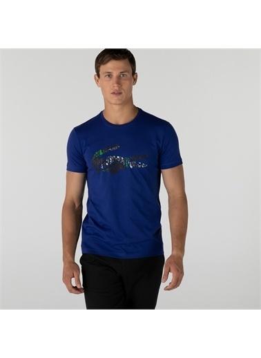Lacoste Lacoste Erkek Slim Fit Bisiklet Yaka Baskılı Lacivert T-Shirt Lacivert